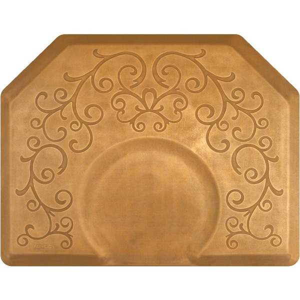 4'x5' Estates Collection Salon Mat with Chair Depression in Bella Copper Leaf (SS4050X75BCL)