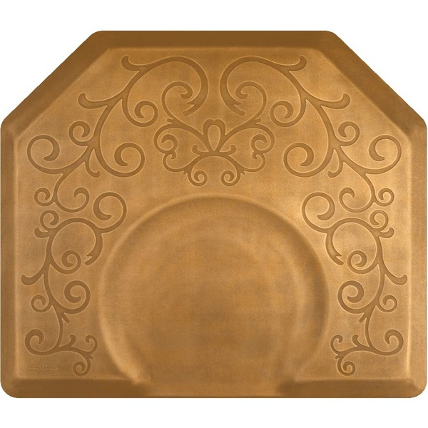 4'x4.5' Estates Collection Salon Mat with Chair Depression in Bella Copper Leaf (SS4045X75BCL)