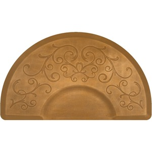 3'x5' Estates Collection Round Salon Mat with Chair Depression in Bella Copper Leaf (SS3050C75BCL)