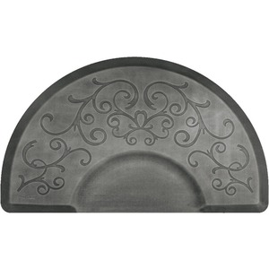 3'x5' Estates Collection Round Salon Mat with Chair Depression in Bella Silver Leaf (SS3050C75BSL)