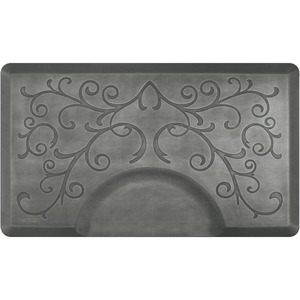 3'x5' Estates Collection Rectangle Salon Mat with Chair Depression in Bella Silver Leaf (SS3050R75BSL)