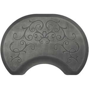 2.5'x3.5' Estates Collection Round Salon Mat with Chair Depression in Bella Silver Leaf (SS2535C75BSL)