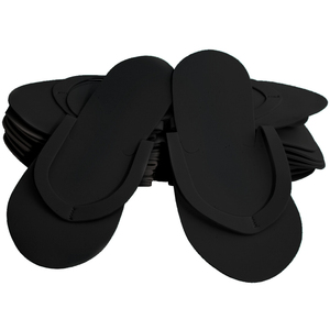 Comfy Foam Pedicure Slippers - Sewed Strap - Black Case of 240 Pairs (320154)