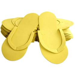 Foam Pedicure Slippers - Soft & Reusable - Sewed Strap - Yellow Case of 240 Pairs (320157)