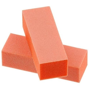 White Grit on Orange 3 Way UK Nail Buffing Block (410077)
