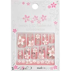 Japanese 3D Nail Art Stickers - White Flower on Silver Motif - R-25 - Each (520326)