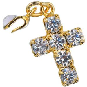 Japanese 3D Nail Art Jewelry - Clip On Dangling Charm - Sparkling Crystal Gold Plated Cross - Each (520328)