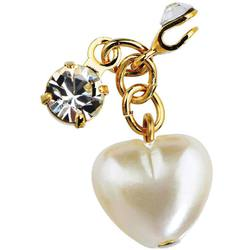 Japanese 3D Nail Art Jewelry - Clip On Dangling Charm - Pearl Heart With Big Sparkling Crystal - Each (520329)