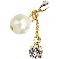 Japanese 3D Nail Art Jewelry - Clip On Dangling Charm - Gold Plated with Lavish Dangling White Pearl - Each (520331)