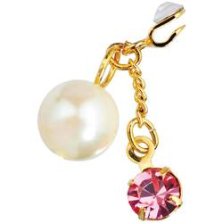 Japanese 3D Nail Art Jewelry - Clip On Dangling Charm - Gold Plated with Big Pink Stone & White Pearl - Each (520332)