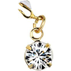 Japanese 3D Nail Art Jewelry - Clip On Dangling Charm - Gold with Crystal Swarovski Stone - Each (520338)