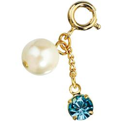 Japanese 3D Nail Art Jewelry - Dangling Charm with Loop Lock - Pearl & Blue Diamond - Each (520343)