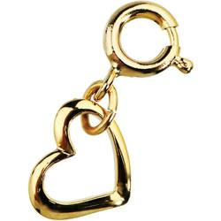 Japanese 3D Nail Art Jewelry - Dangling Charm with Loop Lock - Gold Heart - Each (520347)