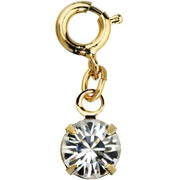 Japanese 3D Nail Art Jewelry - Dangling Charm with Loop Lock - Gold Diamond Stone - Each (520351)