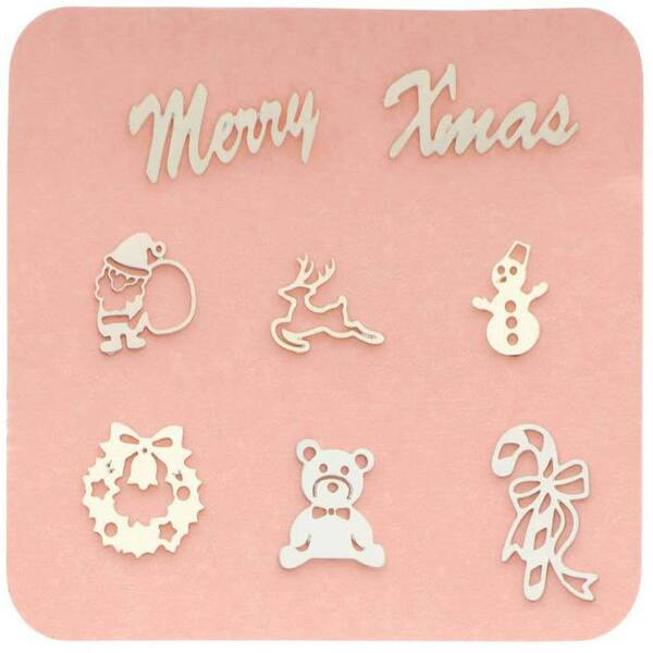 Japanese 3D Nail Charms - Silver Christmas - Each (520356)