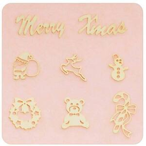 Japanese 3D Nail Charms - Gold Christmas - Each (520357)