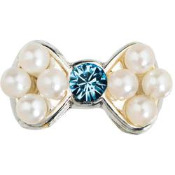 Japanese 3D Nail Art Jewelry - Pearl Bow With Blue Diamond - Each (520364)
