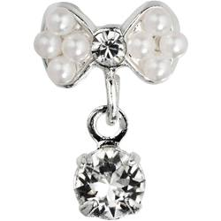 Japanese 3D Nail Art Jewelry - Dangling Charm - Pearl Bow With Dangle Diamond Stud - Each (520365)