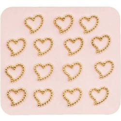 Japanese 3D Nail Charms - Romantic Mini Gold Hearts - 15 Stickers (520377)