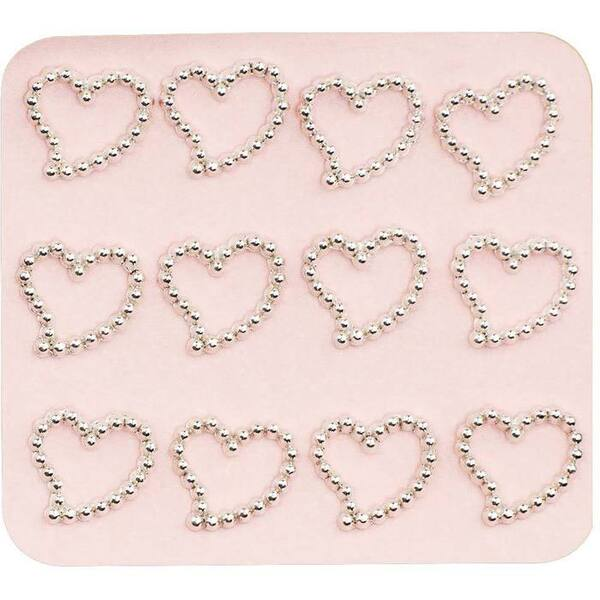 Japanese 3D Nail Charms - Dazzling Silver Hearts - 12 Stickers (520378)