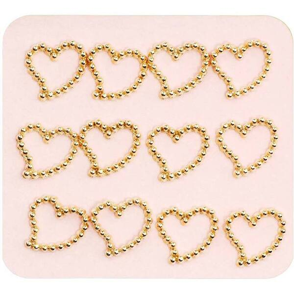 Japanese 3D Nail Charms - Dazzling Gold Hearts - 12 Stickers (520379)