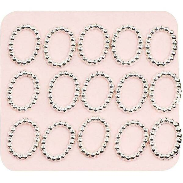 Japanese 3D Nail Charms - Elegant Mini Silver Rings - 15 Stickers (520380)