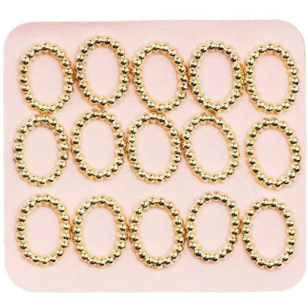 Japanese 3D Nail Charms - Elegant Mini Gold Rings - 15 Stickers (520381)
