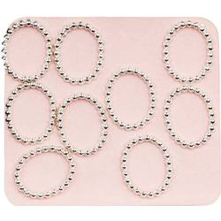 Japanese 3D Nail Charms - Trendy Silver Rings - 10 Stickers (520382)