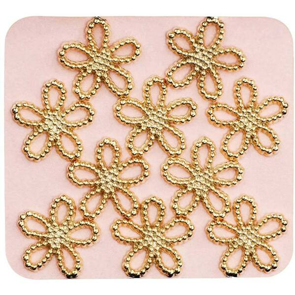 Japanese 3D Nail Charms - Trendsetting Gold Flowers - 10 Stickers (520385)