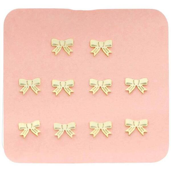 Japanese 3D Nail Charms - Cute Golden Bows - 10 Stickers (520389)