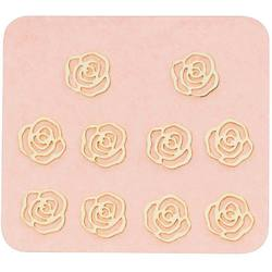 Japanese 3D Nail Charms - Lovely Mini Golden Roses - 10 Stickers (520394)