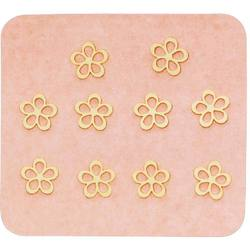 Japanese 3D Nail Charms - Mini Radiant Golden Flowers - 10 Stickers (520396)