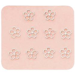 Japanese 3D Nail Charms - Charming Silver Flowers - 10 Stickers (520399)