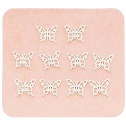 Japanese 3D Nail Charms - Graceful Silver Butterflies - 10 Stickers (520405)