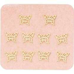 Japanese 3D Nail Charms - Graceful Golden Butterflies - 10 Stickers (520406)