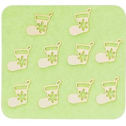 Japanese 3D Nail Charms - Golden Christmas Stockings - 10 Stickers (520416)