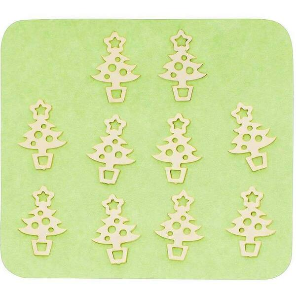 Japanese 3D Nail Charms - Golden Christmas Trees - 10 Stickers (520418)