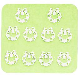 Japanese 3D Nail Charms - Silver Christmas Wreath - 10 Stickers (520419)