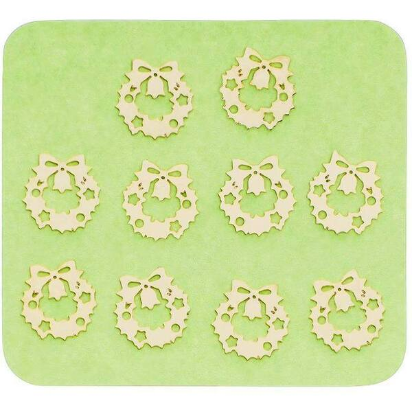 Japanese 3D Nail Charms - Golden Christmas Wreath - 10 Stickers (520420)