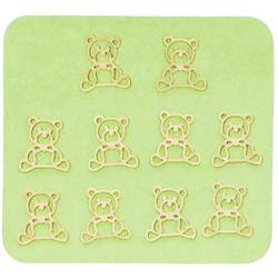 Japanese 3D Nail Charms - Cuddly Golden Teddy Bears - 10 Stickers (520425)