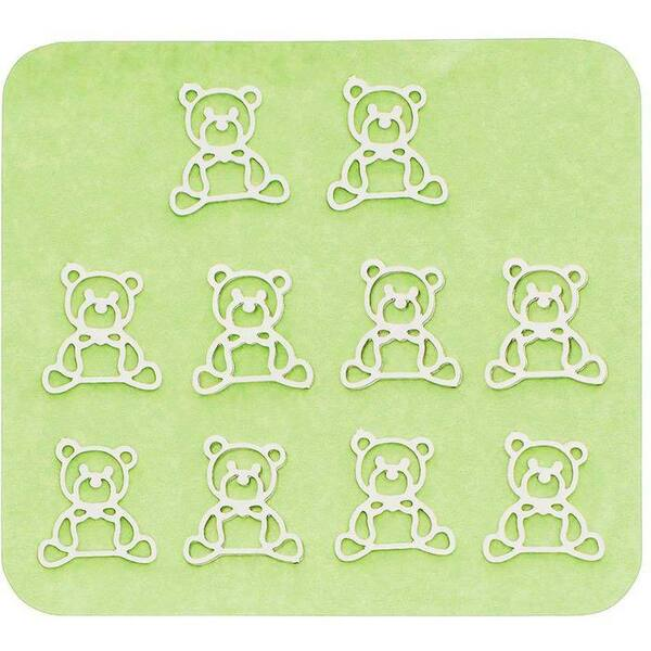 Japanese 3D Nail Charms - Cuddly Silver Teddy Bears - 10 Stickers (520426)