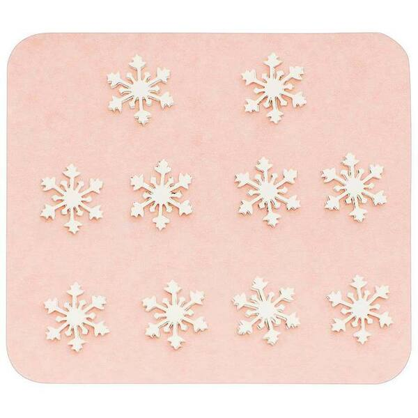 Japanese 3D Nail Charms - Silver Snowflakes - 10 Stickers (520433)