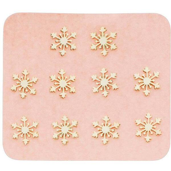 Japanese 3D Nail Charms - Golden Snowflakes - 10 Stickers (520434)