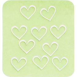Japanese 3D Nail Charms - Silver Hearts - 10 Stickers (520443)