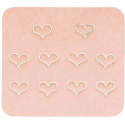 Japanese 3D Nail Charms - Romantic Silver Hearts - 10 Stickers (520445)
