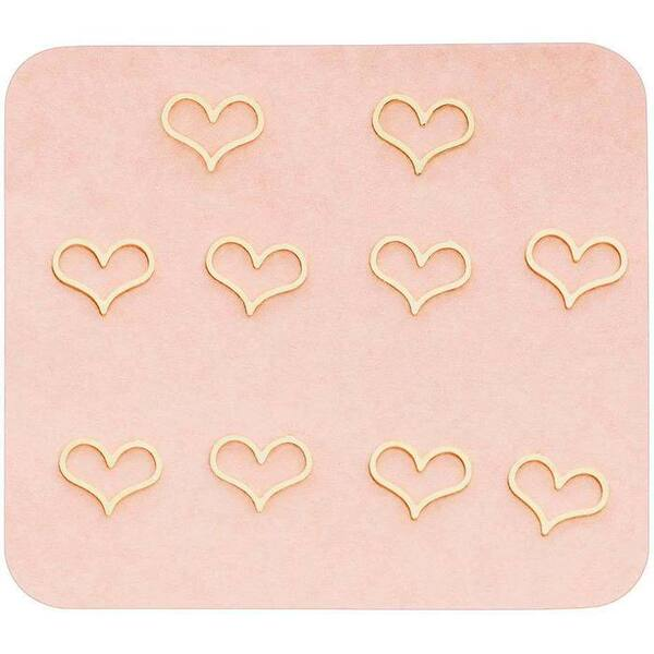 Japanese 3D Nail Charms - Romantic Golden Hearts - 10 Stickers (520446)