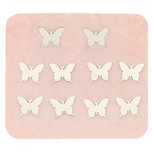 Japanese 3D Nail Charms - Silver Butterfly - 10 Stickers (520467)