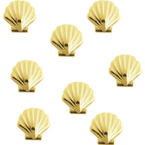 Japanese 3D Nail Charms - Gold Shell - 10 Stickers (520468)