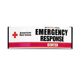 Emergency Response Center Sign Powder-Coated Metal 26 x 4-33 x 8 White (FAOFX106)