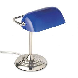 Traditional Incandescent Banker's Lamp Blue Glass Shade Chrome Base 14 Inches (LEDL557BL)